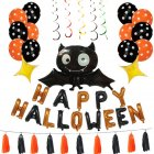 Happy Halloween Letter Black Bat Balloons Set for Party Decor Props Default set