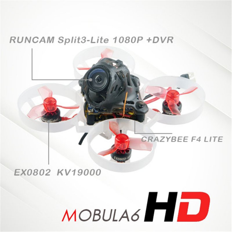 Happymodel Mobula6 HD Mobula 6 1S 65mm Crazybee F4 Lite 1S Whoop FPV Racing Drone BNF w/ Runcam Split 3 lite 1080P HD DVR Camera Flysky
