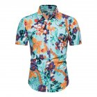 Hawaii Beach Wear Leisure Shirt of Short Sleeves and Turn down Collar Casual Top for Man CS162 M