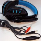 Head-mounted Style Dynamic Circle Game Earset Exquisite Headphone with Mic  Black blue