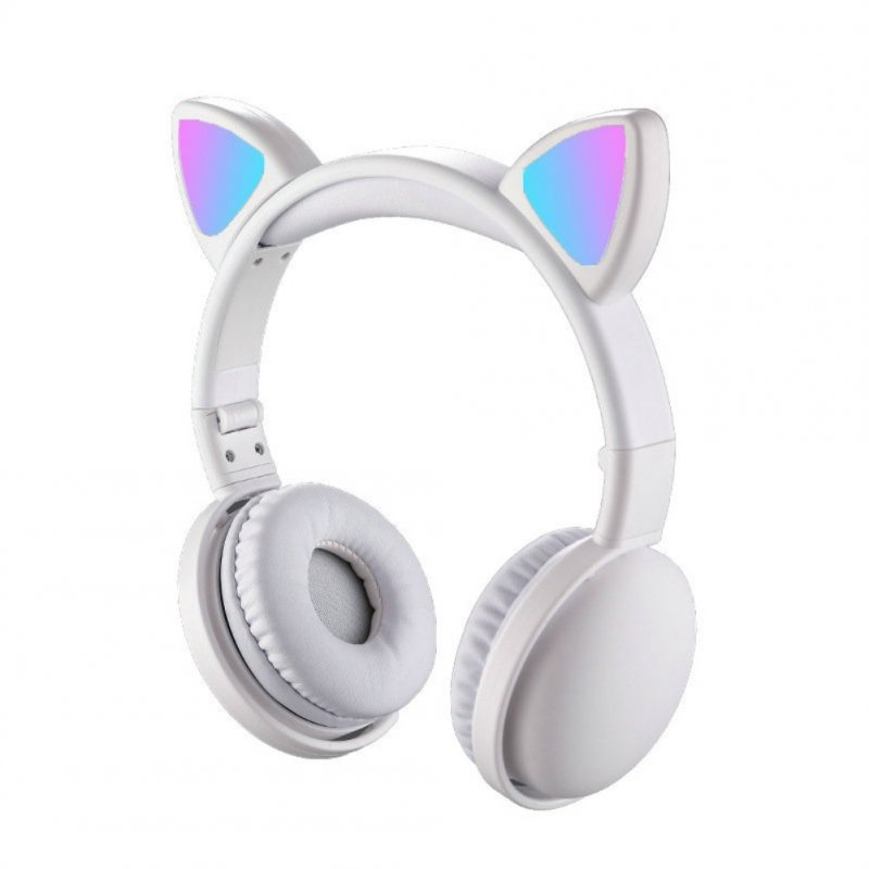 Wholesale Headset Foldable Cartoon Wireless Cat Ear Headphones Light Bluetooth Headset White From China