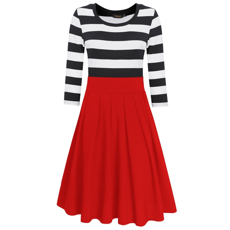 HiQueen Women Casual Scoop Neck 3/4 Sleeve A-Line Swing Dress Stripe Modest Dresses Red_XL