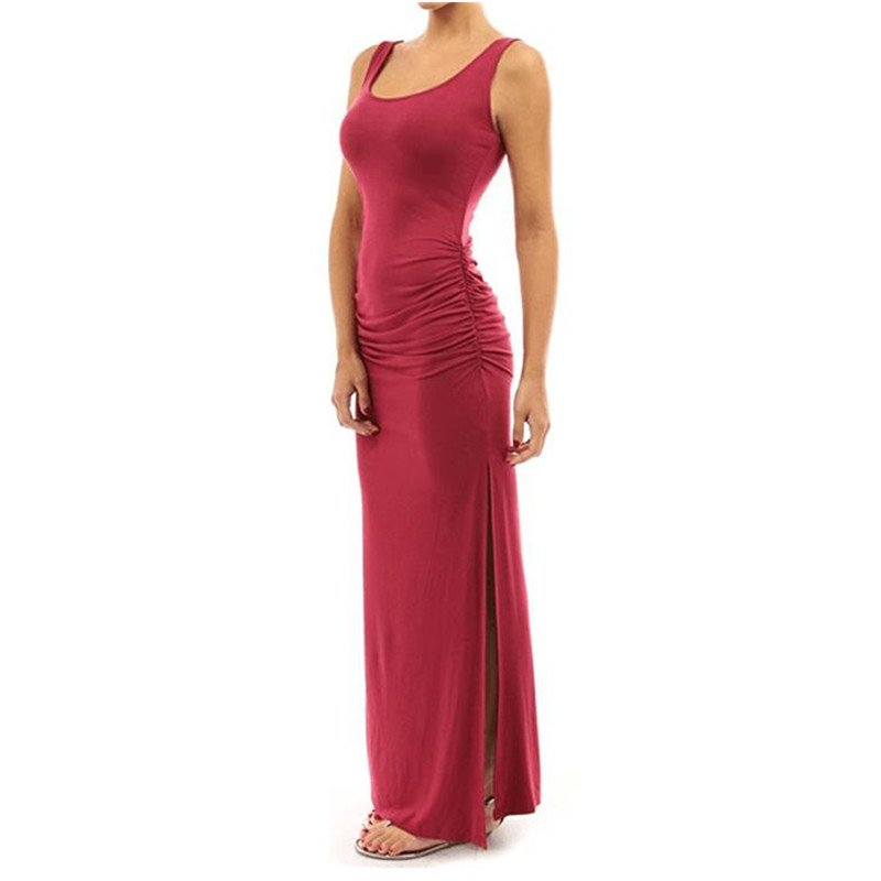 HiQueen Women's U-neck Sleeveless Long Dress