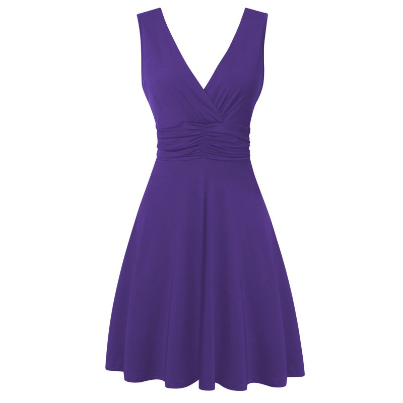 Women's Ruched Waist V-neck Dress