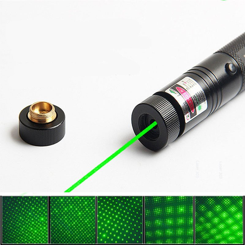 High Power Pointer Sight 303 LED Flashlight Cover Dots Flashlight with Charger Battery black_Green light