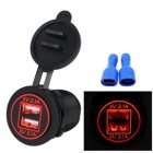 High Quality Waterproof Dual USB Aperture 4 2A 12V 24V Car Charger with Light Indicator red