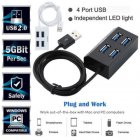 High Speed Mini Portable 4-Port USB Hub HUB Expansion Splitter Power Adapter Switch For PC Port Expander Multiple USB black