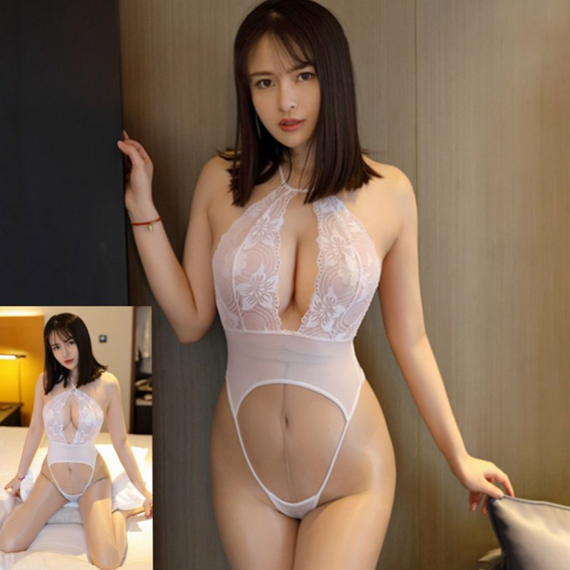 Hollow Lingerie Set Women Lace Deep V Erotic Bra Set See-through Jumpsuit Sexy Underwear Halter Open Bra white