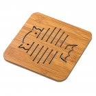 Hollow Out Wooden Coasters Kitchen Tableware Thickened Anti hot Insulation Non slip Pad