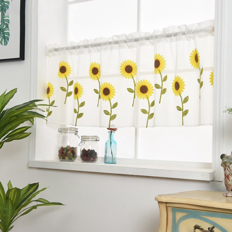 Home Daisy Embroidery Short Curtain Drapes Valance Light Shading Panel daisy_80*50cm