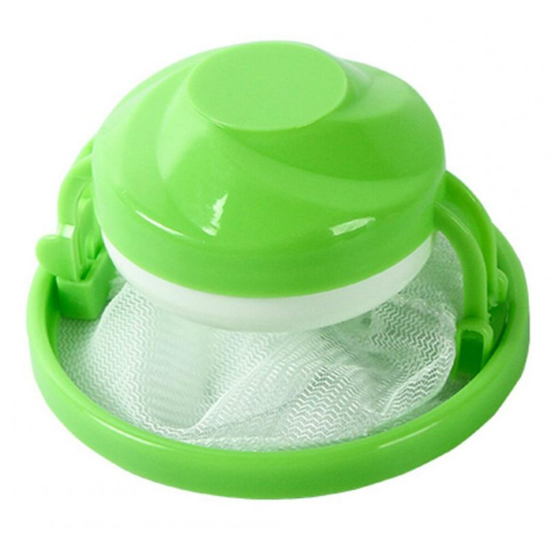 Home Floating Lint Hair Catcher Mesh Pouch Washing Machine Laundry Filter Bag 1pc round green