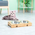 Home Pet  Bowl Stainless  Steel/ceramic Feeding  Drinking Bowls With  Bamboo  Frame For  Dog  Cat  Puppy stainless steel