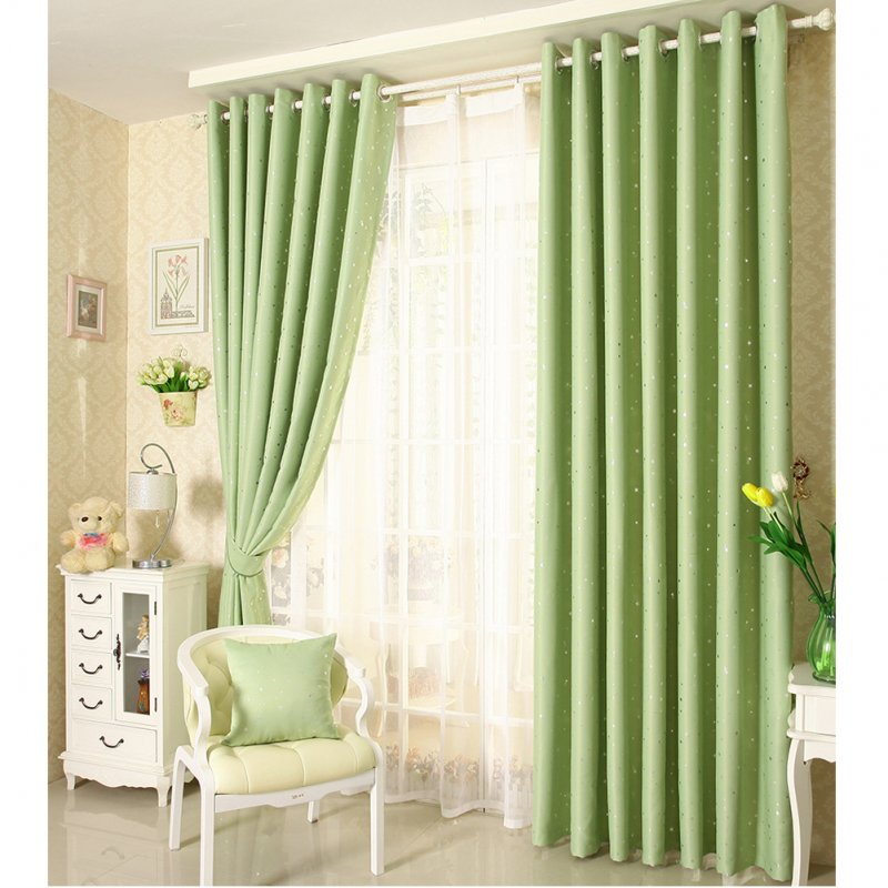 Home Shading Window Curatin Silver Star Printing Vetical Window Screening for Living Room Bedroom green_100*250cm