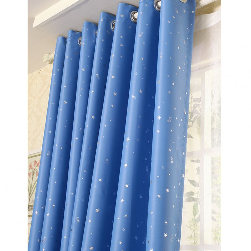 Home Shading Window Curatin Silver Star Printing Vetical Window Screening for Living Room Bedroom sky blue_100*130cm