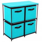 Home Storage Rack with 4 Drawers Stable Shelf for Bedroom Living Room Toy Clothing Organize Lake Blue