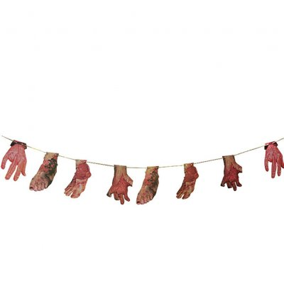 Horror Halloween Series Simulate Blood Printing Hanging Pendant Decoration Bar Haunted House Door Prop 8 bloody hands and feet