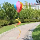 Hot Air Balloons Wind Spinner Striped Windsock Curlie Tail Colorful Kinetic Hanging Decoration Garden Yard Outdoor Toy  Six color cloth