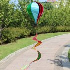 Hot Air Balloons Wind Spinner Striped Windsock Curlie Tail Colorful Kinetic Hanging Decoration Garden Yard Outdoor Toy  Sequins