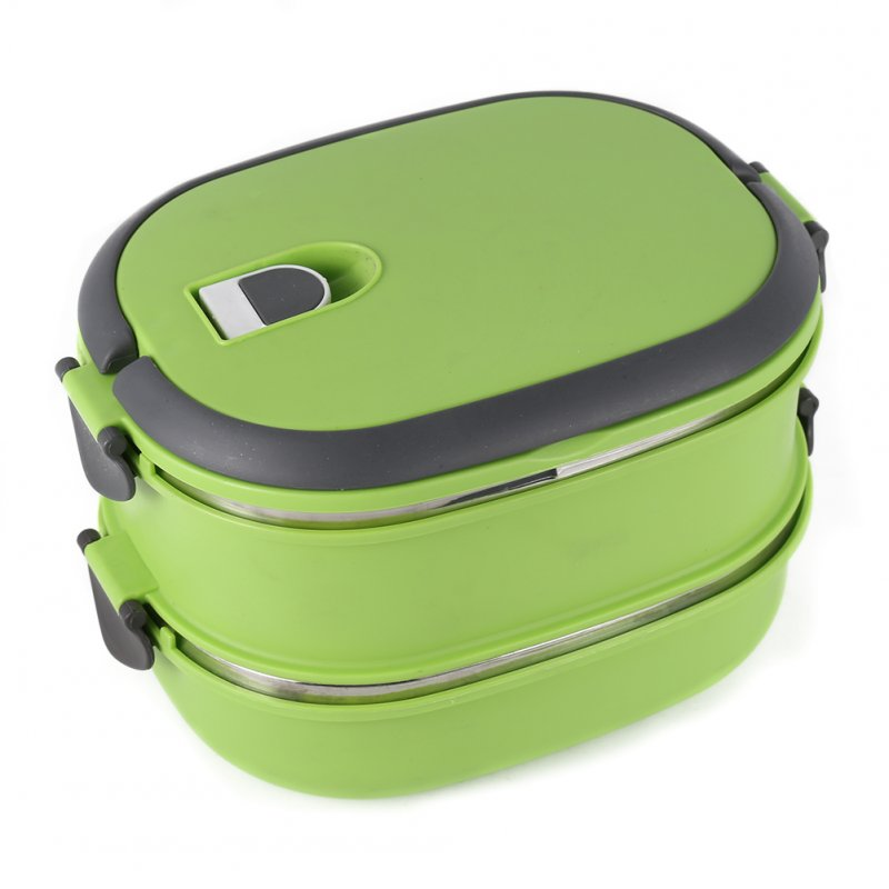 Hot Thermal Insulated Bento Stainless Steel Food Container Lunch Box 1 2 3 Layer Styles:Double Layer Colors:Green