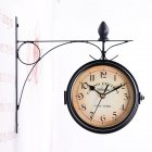Household Double Sided Bracket Clock Retro Horological Decoration Ornaments Living Room Wall Clock black_25 * 9 * 22