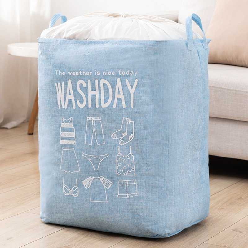 Household Laundry Storage Bag Waterproof Cloth Dirty Clothes Basket with Drawstring blue_43 * 53 * 33cm