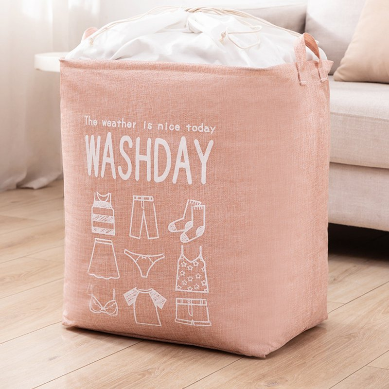 Household Laundry Storage Bag Waterproof Cloth Dirty Clothes Basket with Drawstring Pink_43 * 53 * 33cm