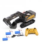 HuiNa 1:14 1592 RC Alloy Excavator 22CH Big RC Trucks Simulation Excavator Remote Control Vehicle Toy for Boys 3 batteries