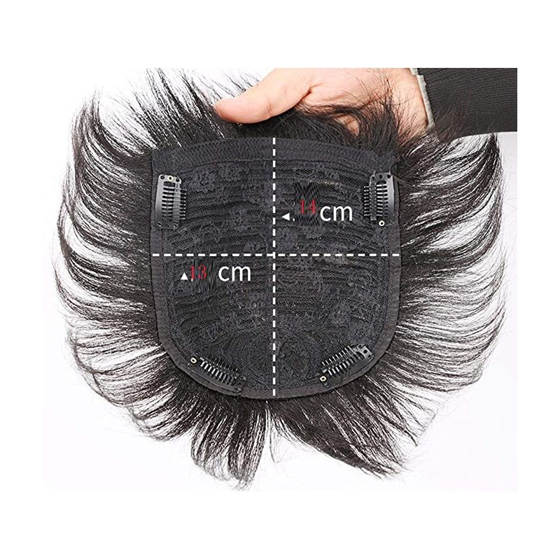 Human Wig Hair Topper Toupee Clip Hairpiece Lace Top Wig for Men Natural black_13x14