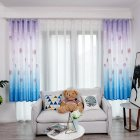 Hydrangea Printing Shading Decorative Curtain for Bedroom Living Room Short Window Drapes blue_1 * 2 meters high