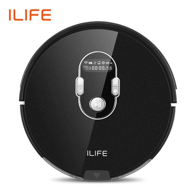 ILIFE A7 Robot Cleaner Vacuum Smart APP Remote Control for Hard Floor and Thin Carpet Automatic Recharge Slim Body black_European regulations
