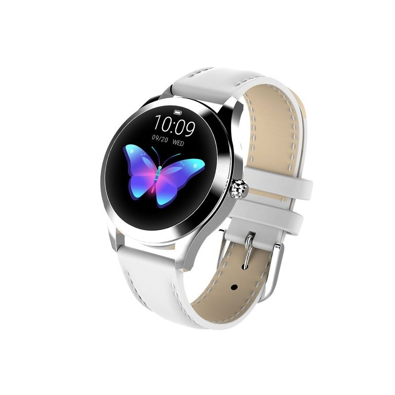 IP68 Waterproof Smart Watch Lovely Women Bracelet Heart Rate Monitor Sleep Monitoring Smartwatch Fitness Wristband Silver dial white strap