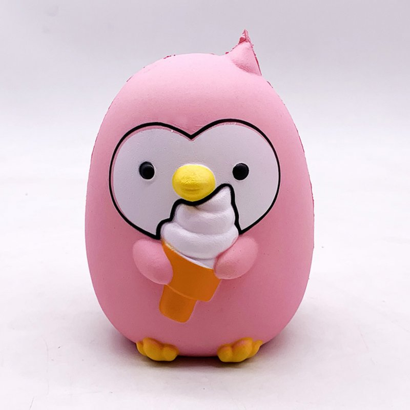 Ice Cream Penguin Pu Simulation Decompression Toy Super Soft Very Slow Rising Squishies  Pink_15.5 * 12.5 * 10cm