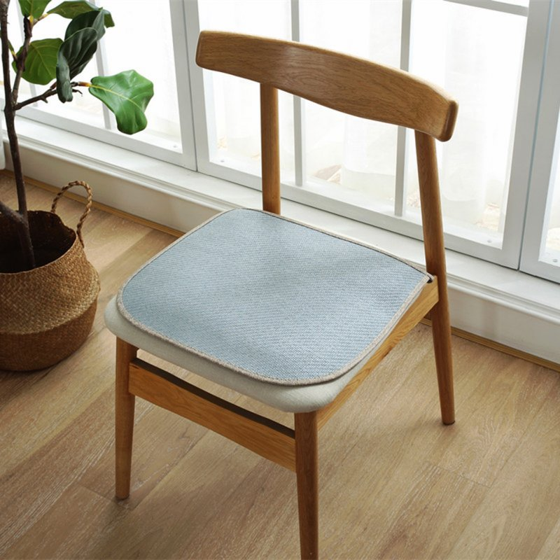 Ice Silk Dining Chair Cushion Cool Spring Summer Vine Seat Pad with Straps 40*45cm Light blue_40 * 45cm