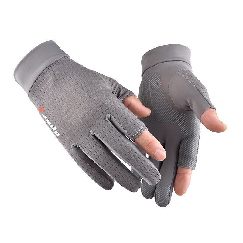 Ice Silk Non-Slip Gloves Breathable Outdoor Sports Driving Riding Thin Anti-UV Protection Gloves gray_One size
