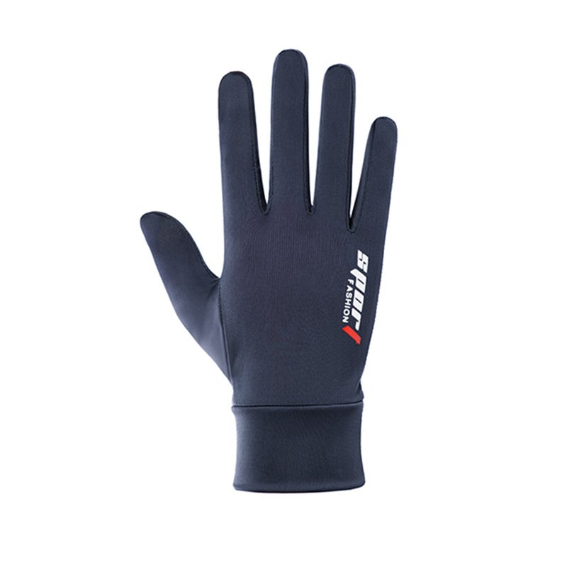Ice Silk Non-Slip Gloves Breathable Outdoor Sports Driving Riding Touch Screen Gloves Thin Anti-UV Protection Full finger touch screen blue_One size