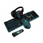 Illuminated Gaming Mouse Keyboard Pad Headset Mechanical Wired USB Keyboard Set Computer Desktop Monochromatic Light black
