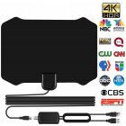 Indoor TV Antenna Amplified Digital HDTV 200 Miles Range 4K 1080p black