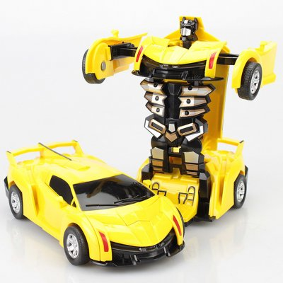 Inertia Crash PK Car Deformation Robot Action Figures Toy for Kids yellow