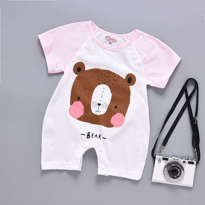 Infant Baby Girls Boys Cartoon Bear Pattern Crotchless Short Sleeve Romper Jumpsuit