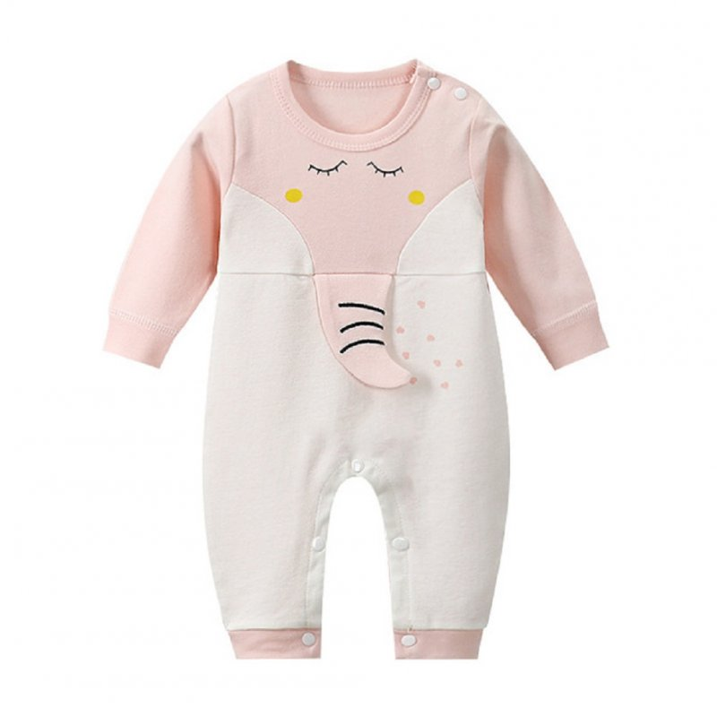 Infant Baby Long Sleeve Carton Animal Pattern Cotton Romper Pink elephant_73CM