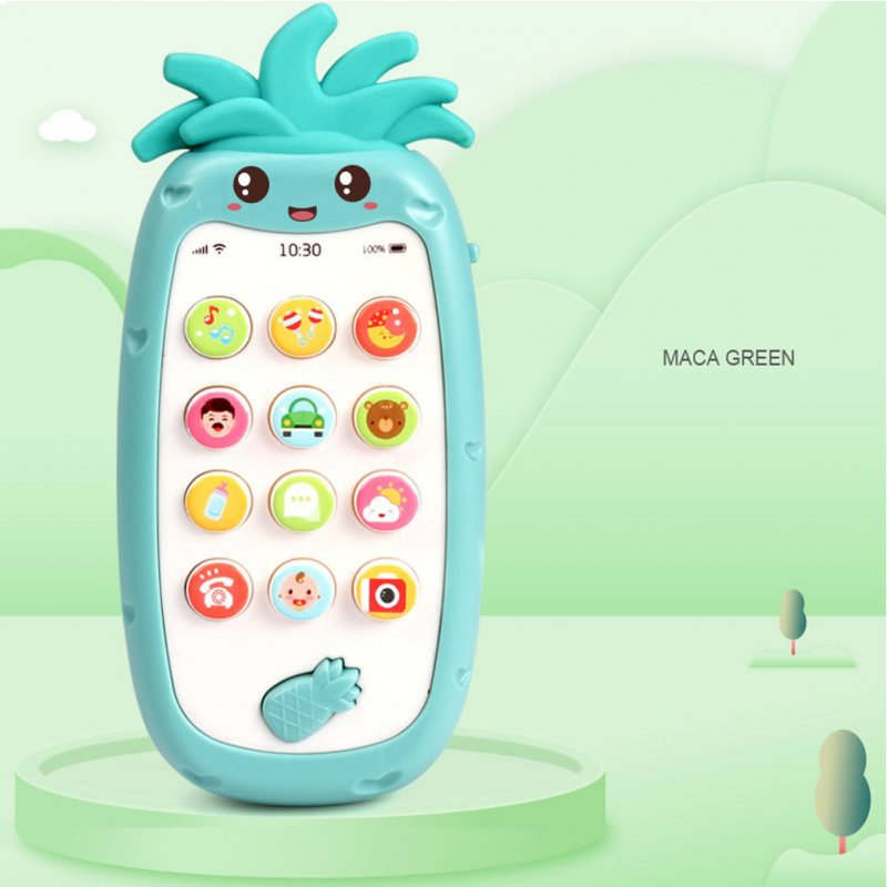 Infant Newborn Baby Simulation Plastic Music Mobile Phone Toy Early Education Gift green