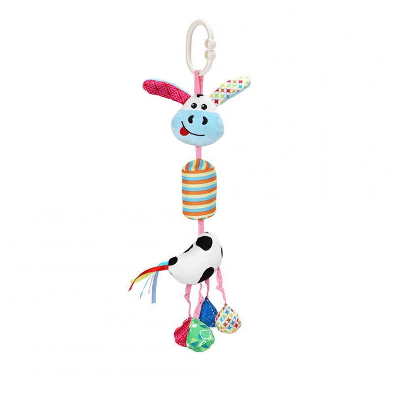 Infant Newborn Baby Plush Rattle Crib Stroller Hanging Pendant Cartoon Sensory Toy Gift Cow