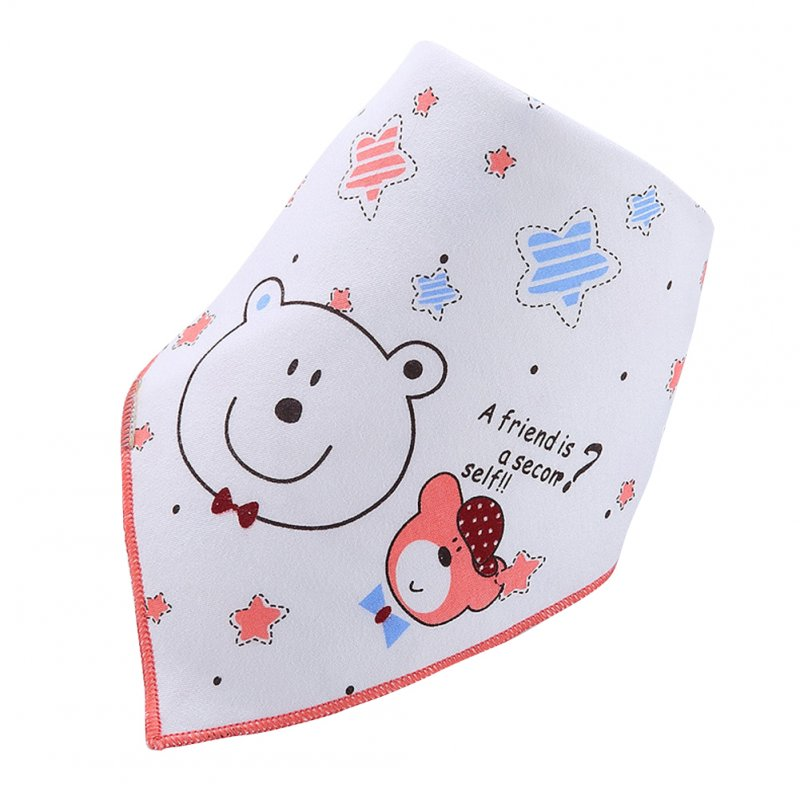 Infant Newborn Pure Cotton Lovely Cartoon Triangle Baby Bib Dual Layer Stud Towel Bear Pink