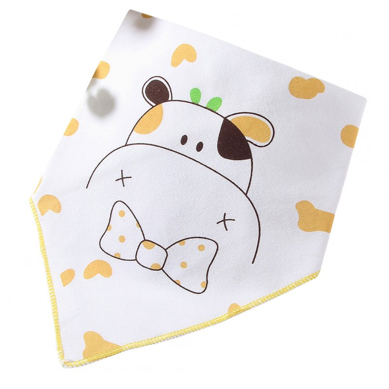 Infant Newborn Pure Cotton Lovely Cartoon Triangle Baby Bib Dual Layer Stud Towel Calf yellow
