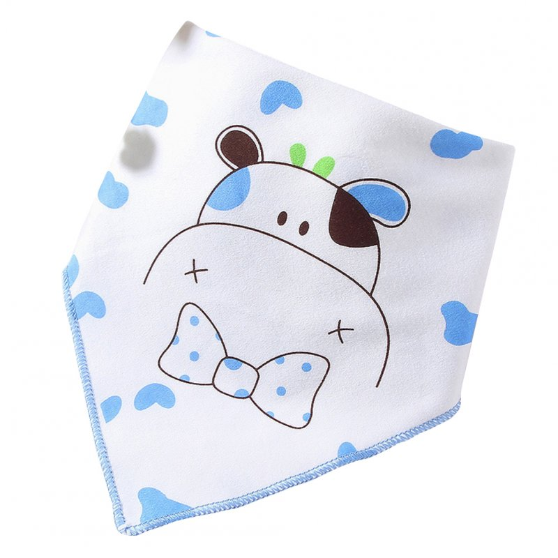 Infant Newborn Pure Cotton Lovely Cartoon Triangle Baby Bib Dual Layer Stud Towel Calf blue