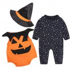 Infant Toddler 3Pcs Happy Halloween Costume Outfit Set Pumpkin Romper Pants Set As Show  70 3 6 months 0 15kg