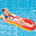 Inflatable Water Sofa PVC Floating Bed Foldable Backrest Floating Row for Summer Outdoor Swimming Beach 150*75 elegant red_150*75cm