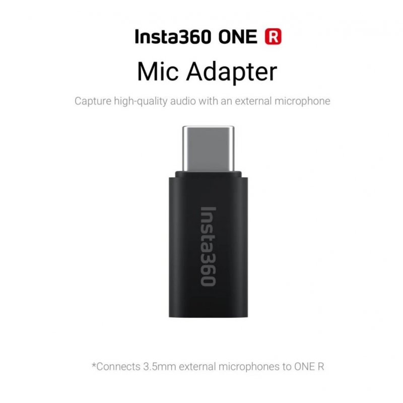 Insta360 USB-C to 3.5mm Mic Adapter for Insta360 ONE R Camera black