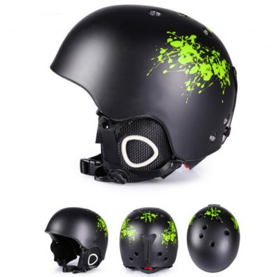 Integrated Molding Ski Helmet Safety Warm Snowboard Helmet Ski Protective Gear Equipment for Adult Black graffiti green branches_L number