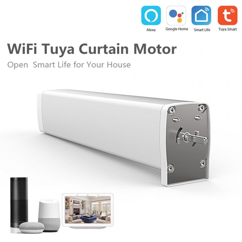 Intelligent Home Electric Curtain Motor APP Voice Control Automation Work with Alexa and Google  white